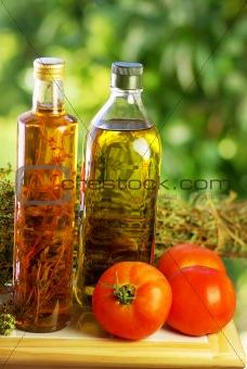 Olive oil,vinegar, oregano and tomato.