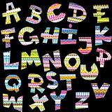 Letters of alphabet with ethnic decorative motifs