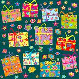 Seamless pattern with Christmas gifts