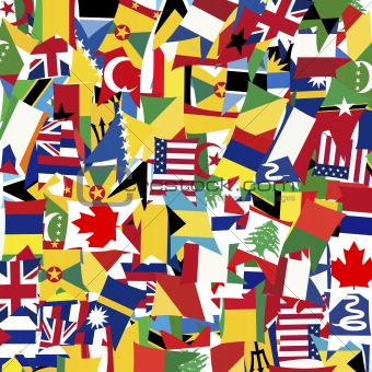 Seamless pattern with world's flags