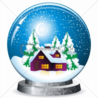 realistic vector snow globe