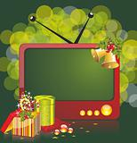 Christmas illustration with TV and gifts