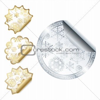 Collection of christmas stickers design elements isolated on White