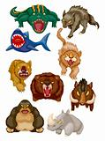 cartoon angry animal icons