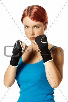 female boxer in gloves