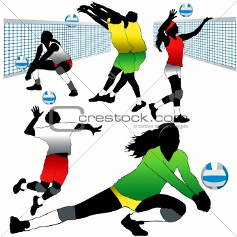 5 Detailed Volleyball Players Silhouettes Set