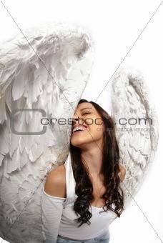 Fish eye angel wings portrait
