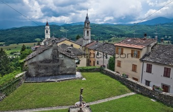 Panoramic view of Compiano. Emilia-Romagna. Italy.