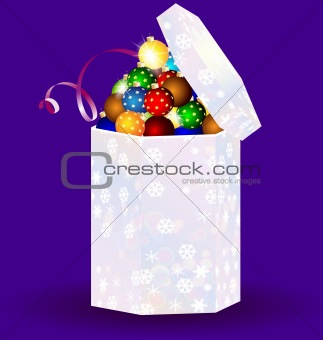 gift box with Christmas balls