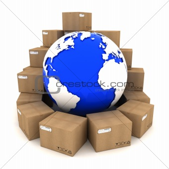 Cardboard boxes around Earth