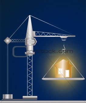 construction crane and golden house
