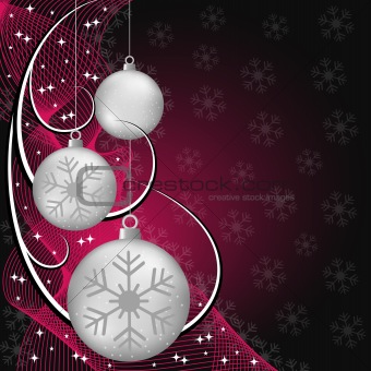 Silver xmas balls on red and black