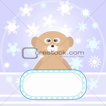 Baby Bear greetings card with snowflakes and empty blank Vector