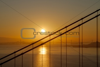 Sunrise over Golden Gate and Oakland Bay Bridge