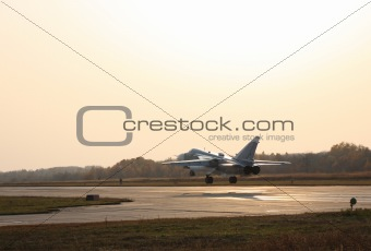 Military jet bomber airplane Su-24 Fencer 