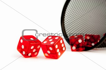 five red dice on white background