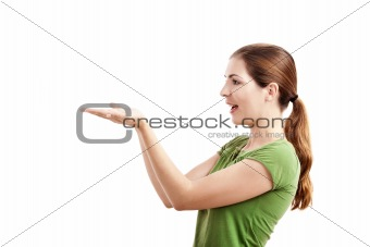 Woman showing her empty hands, isolated on white background