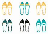 Retro Shoes collection isolated on white ( yellow &amp; blue )