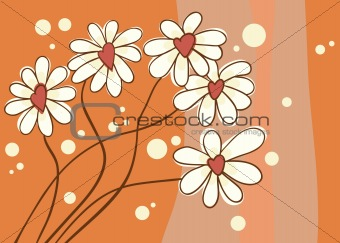 Background with love chamomile