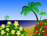 Ocean view with Flowers