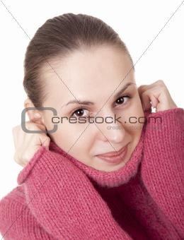 Beautiful young woman in winter sweater