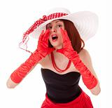 Shouting fashion girl in retro style with big hat