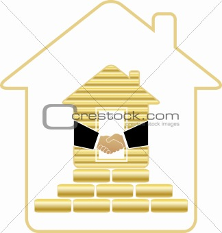 house with gold bricks and handshake