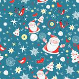 winter pattern with Santa Claus