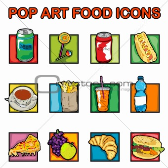 pop art food icons