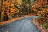 Quiet autumn road after the rain