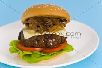 Classic Hamburger with cheese tomato salad
