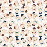 cartoon Sumo wrestler seamless pattern