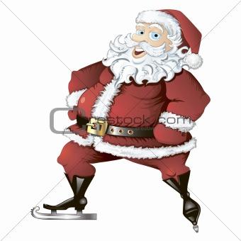 Skating Santa isolated
