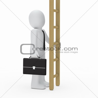 3d business man hold ladder