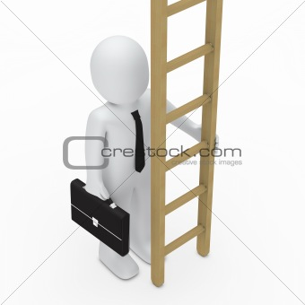 3d business briefcase man hold ladder