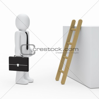 3d business man before ladder