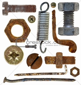 old rusty screws heads nails hooks spring