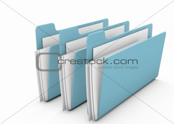 Folders on white background