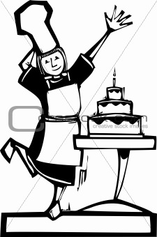 Chef and Birthday Cake