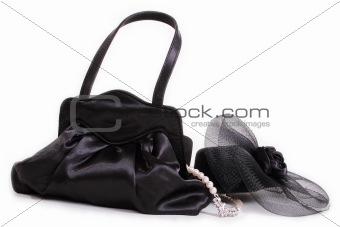 small stylish black purse hat and jewelry