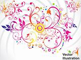 abstract colorful floral background with cirrcle