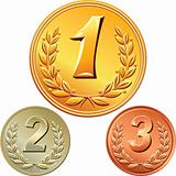 vector set of gold, silver and bronze medals for first, second,