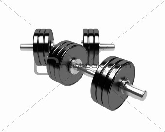 3D render of dumbbells