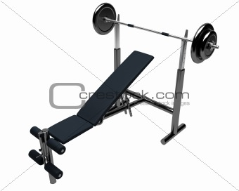 3D render of heavy weights bench