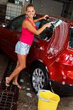 Model washing a car