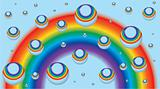 Background for a business card with rainbow and drops