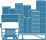truck in modern city