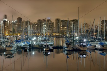 Marina along Stanley Park in Vancouver BC
