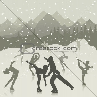 Skating rink on lake