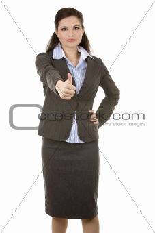 thumbs up from business woman